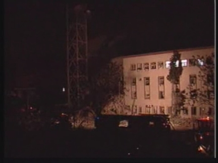 YUGOSLAVIA: STATE TV STATION RTS HIT BY NATO MISSILE (2)