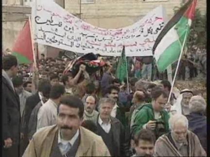 WEST BANK: HUSSAN: VIOLENCE ERUPTS AFTER FUNERAL OF PALESTINIAN BOY