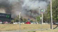 Huge Bushfire Looms Over Homes at Forster, New South Wales
