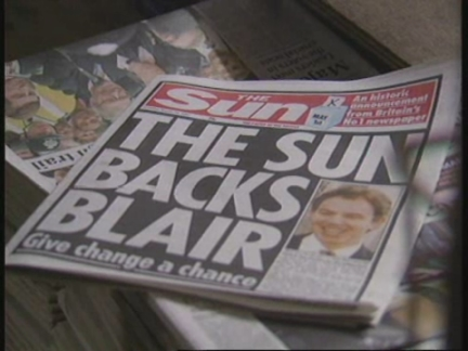 UK: SUN NEWSPAPER DECLARES ITS SUPPORT FOR TONY BLAIR